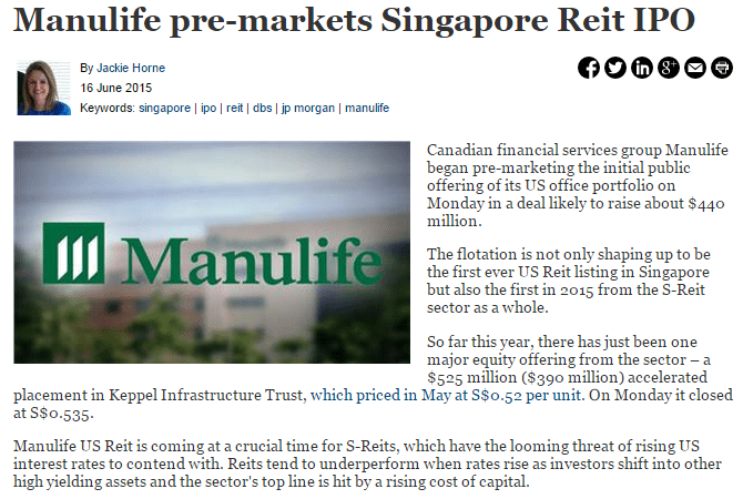 Manulife US REIT IPO news