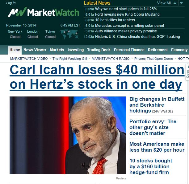 Carl Icahn loss money